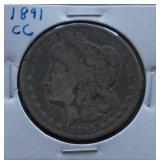 1891-CC Morgan Silver Dollar Toned