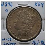 1896-O Morgan AU+ Silver Dollar