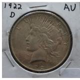 1922-D Peace AU Silver Dollar