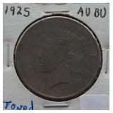 1925 Peace AU+ Silver Dollar Toned