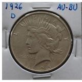1926-D Peace AU+ Silver Dollar