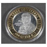 .999 Silver Grouch Marx $10 Gaming Token Token