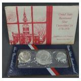 1976 U.S. Bicentennial Unc 3 Piece Silver Coin Set