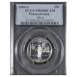 1999-S Pennsylvania Silver Proof Quarter PR68 DCAM