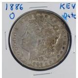 1886-O Morgan AU Silver Dollar