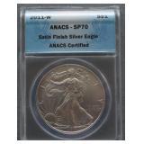 2011-W American Silver Eagle Satin Finish SP70