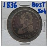 1836 Capped Bust Half Dollar with Lettered Edge