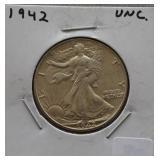 1942 Walking Liberty Unc. Half Dollar