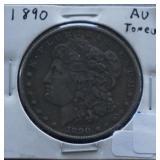 1890 Morgan AU Silver Dollar Toned