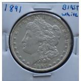 1891 Morgan AU Silver Dollar