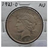 1923-D Peace AU Silver Dollar
