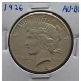 1926 Peace AU+ Silver Dollar