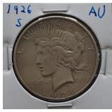 1926-S Peace AU Silver Dollar