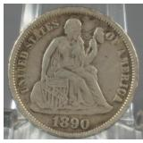1890 Seated Liberty Dime