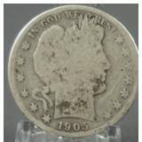 1905-S Barber Silver Half Dollar