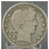 1907-D Barber Silver Half Dollar