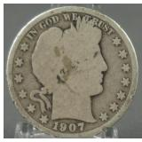 1907-O Barber Silver Half Dollar