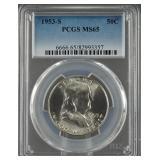 1953-S Franklin Half Dollar PCGS MS 65