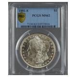 1881-S Morgan Silver Dollar PCGS MS 62