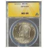 1972-S Eisenhower Silver Dollar ANACS MS 66