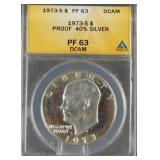 1973-S Eisenhower Proof Silver Dollar PF 63 DCAM