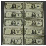 10 1957 Silver Certificate One Dollar Bills