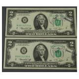 2 1976 Consecutive First Day Issue Two Dollar Bill