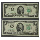 2 1976 Consecutive Number Two Dollar Bills