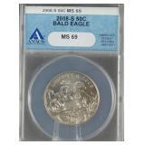 2008-S Bald Eagle Silver Half Dollar ANACS MS 69