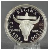 1982 Canada Silver Regina Cow Skull Dollar