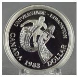 1983 Canada Silver World University Games Dollar