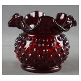 "Fenton Ruby Hobnail Glass 3"" Rose Bowl"