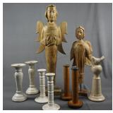 Carved Angels and Candle Stick Home Decor