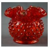 "Fenton Amberina Hobnail Glass 3"" Rose Bowl"