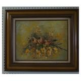 Lanier Oil on Canvas Painting Birds and Flowers