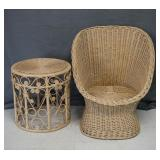 Wicker and Rattan Lounge Chair and Side Table