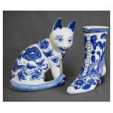 Blue on White Chinese Porcelain Cat and Slipper