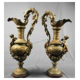 French Neoclassical Bronze Accent Ewers