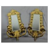 Neoclassical Brass Wall Mirror with Candle Sconces