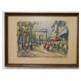 Marius Girard Signed Watercolor Triomphe Elysees