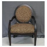 Black Leopard Print Parlor Arm Chair