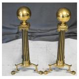 Mid Century Brass Column Fireplace Andirons