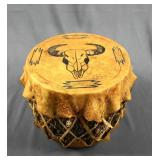 Southwest Hand Made Log and Rawhide Drum