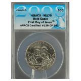 2008-S Bald Eagle Half Dollar ANACS MS 70