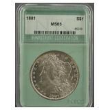 1881 Morgan Dollar NTC MS 65