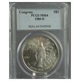 1989-D Congress Silver Dollar PCGS MS 64