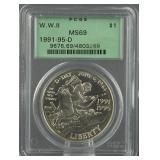 1991-1995 World War II Silver Dollar PCGS MS 69
