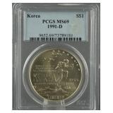 1991-D Korea War Silver Dollar PCGS MS 69