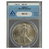 1986 American Silver Eagle ANACS MS 68