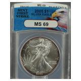 2005 American Silver Eagle ANACS MS 69
